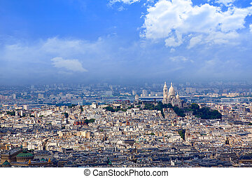 Paris skyline and Sacre Coeur basilique - Aerial Paris...