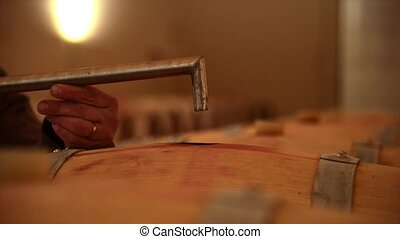 Decanting wine in a barrel's cellar, Bordeaux wineyard