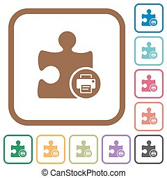 Printer plugin simple icons in color rounded square frames...