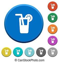 Longdrink beveled buttons - Longdrink round color beveled...