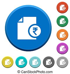 Indian Rupee financial report beveled buttons - Indian Rupee...