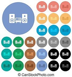 Stereo system round flat multi colored icons - Stereo system...