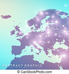 Geometric graphic background communication with Europe Map....
