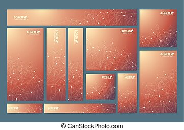 Scientific standard size banners. Geometric abstract presentation. Medical, science, technology, chemistry background molecule and communication. Cybernetic dots. Lines plexus. Card surface.