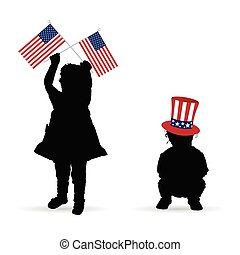 child with american flag and hat illustration