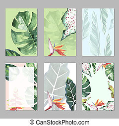 Tropical Hawaii leaves palm tree theme in a watercolor style...