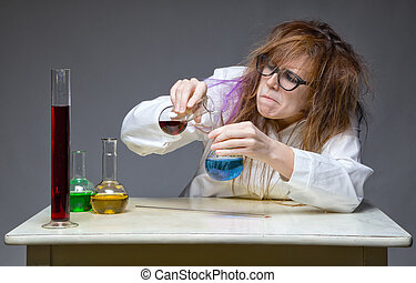 Mixing shaggy chemist in lab on gray background