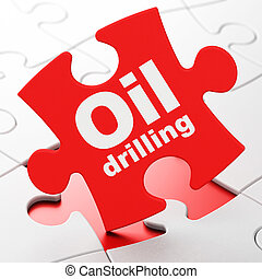 Industry concept: Oil Drilling on puzzle background -...