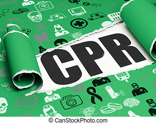 Medicine concept: black text CPR under the piece of torn...