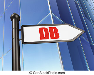 Stock market indexes concept: sign DB on Building...