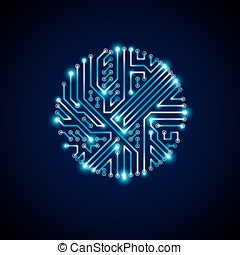 Round luminescent blue circuit board with electronic...