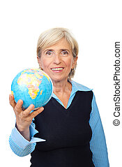 Senior corporate woman hold a globe