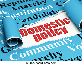 Politics concept: red text Domestic Policy under the piece of  torn paper