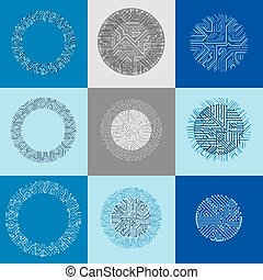 Set of vector abstract technology elements with round colorful circuit boards. High tech circular digital schemes of electronic device, multidirectional arrows.