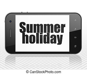 Tourism concept: Smartphone with Summer Holiday on display -...