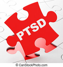 Health concept: PTSD on puzzle background - Health concept:...
