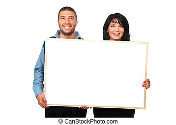 Two corporate people with blank banner - Two corporate...