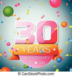 Thirty years anniversary celebration background. Anniversary ribbon