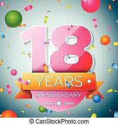 Eighteen years anniversary celebration background....