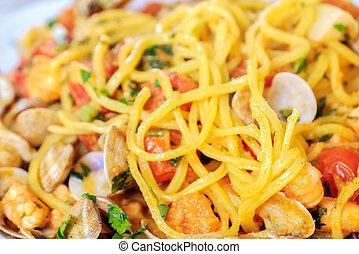 spaghetti alla chitarra Abruzzo pasta closeup italian...