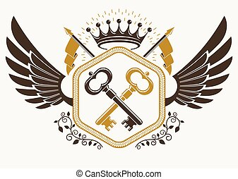 Vector vintage heraldic coat of arms created in award design and decorated using eagle wings, keys and imperial crown