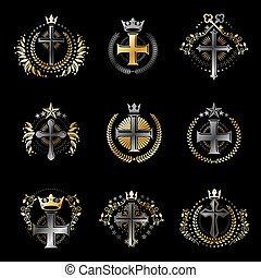 Christian Crosses emblems set. Heraldic Coat of Arms decorative logos isolated vector illustrations collection.