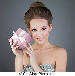 Smiling Girl with Pink Gift