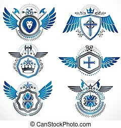Vintage heraldry design templates, vector emblems created with bird wings, crowns, stars, armory and animal illustrations. Collection of vintage style symbols.