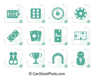 Stylized gambling and casino Icons