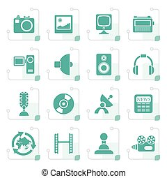 Stylized Media and household  equipment icons