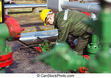 Oil engineer inside fuel industry - Oil and Gas Industry...