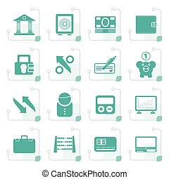 Stylized Bank, business and finance icons