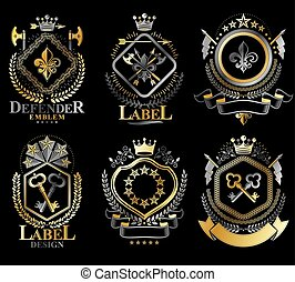 Set of vector retro vintage insignias created with design...