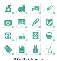 Stylized medical, hospital and health care icons