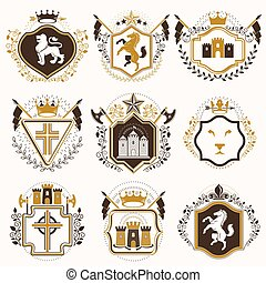 Set of vector vintage elements, heraldry labels stylized in...