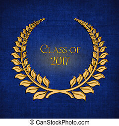 graduation gold laurel for 2017 - gold laurel symbol on blue...