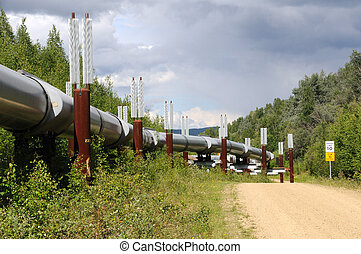 Trans Alaska Oil Pipeline with Permafrost Stabilizing Heat...