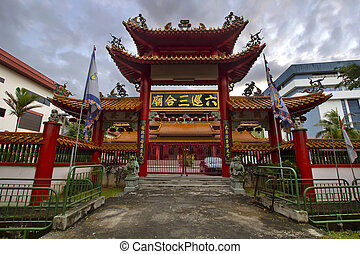 Chinese Temple Main Gate Entrance in Singapore