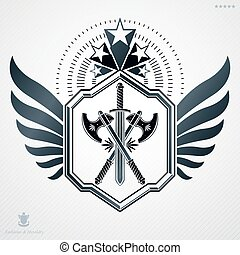 Heraldic sign made using vector vintage elements, armory and stars.