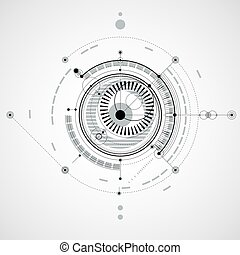 Technical drawing made using dashed lines and geometric circles. Monochrome vector wallpaper created in communications technology style, engine design.