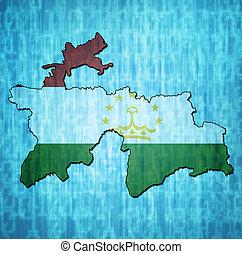 tajikistan territory with flag - map with flag of tajikistan...