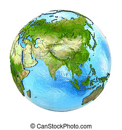 Asia on Earth isolated on white - Asia on 3D model of planet...