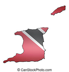 trinidad and tobago territory with flag - map with flag of...