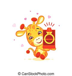 Emoji marry me character cartoon Giraffe box with a ring...