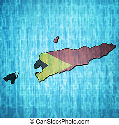 east timor territory with flag - map with flag of east timor...