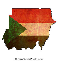 sudan territory with flag - map with flag of sudan with...