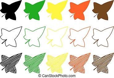 ivy leaf - color set, ivy leaf,