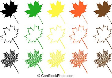 maple leaf - color set, maple leaf