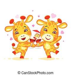 Emoji let have drink party character cartoon friends Giraffe...