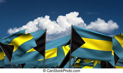 Waving Bahamian Flags (seamless & alpha channel)